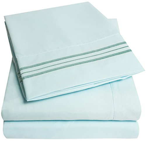 1500 Supreme Collection Bed Sheets – PREMIUM QUALITY BED SHEET SET & LOWEST PRICE, SINCE 2012 – Deep Pocket Wrinkle Free Hypoallergenic Bedding – Over 40+ Colors & Prints- 4 Piece, Full, Light Blue