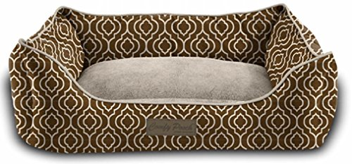 Pet Trendy Modern Chic Trellis Thick Bolstered-Microfiber Machine-Washable Pet Bed for Dog and Cat, 17-Inch x 22-Inch x 7-Inch, Brown