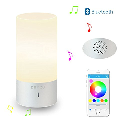 DMYCO Bluetooth Speaker Lamp, Bedside Lamp,Smartphone Control Touch Sensor Table Lamp Dimmable Warm White Light & Color Changing RGB Night Lamp for Living room and Bedroom