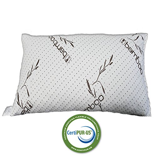 IZO Home Goods Queen/Standard Size Bamboo Sleeping Pillow Hypoallergenic Shredded Memory Foam with Micro-Vented Cool Comfort Pillow Cover Fully Machine Washable