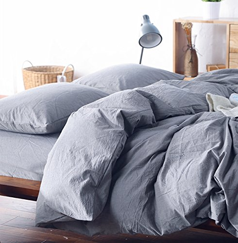 Washed Cotton Chambray Duvet Cover Solid Color Casual Modern Style Bedding Set Relaxed Soft Feel Natural Wrinkled Look (King, Lilac Gray)