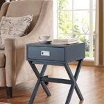 Modern X-Shape Accent Side End Table Nightstand with Drawer in Grey Finish