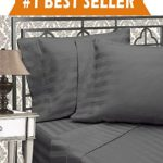 Elegant Comfort Best, Softest, Coziest 6-Piece Sheet Sets! – 1500 Thread Count Egyptian Quality Luxurious Wrinkle Resistant 6-Piece DAMASK STRIPE Bed Sheet Set, Queen Grey