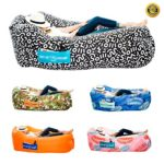 Chillbo Baggins 2.0 Inflatable Lounge Bag Hammock Air Sofa and Pool Float Ships Fast! Ideal for Indoor or Outdoor Hangout or Inflatable Lounger for Camping Picnics & Music Festivals (Black + White)