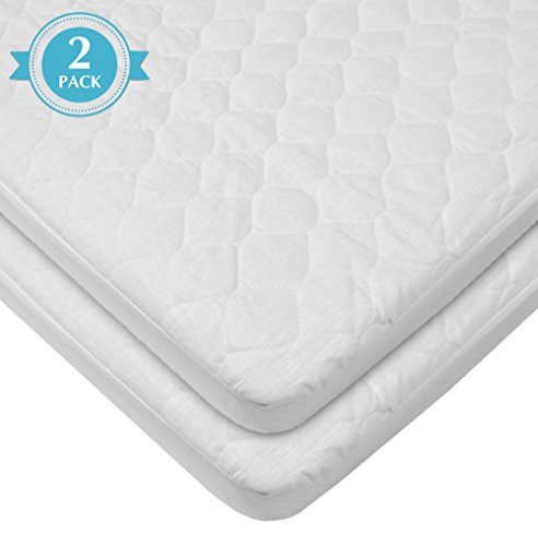 American Baby Company Waterproof fitted Quilted Bassinet Mattress Pad Cover, 2 Count, White
