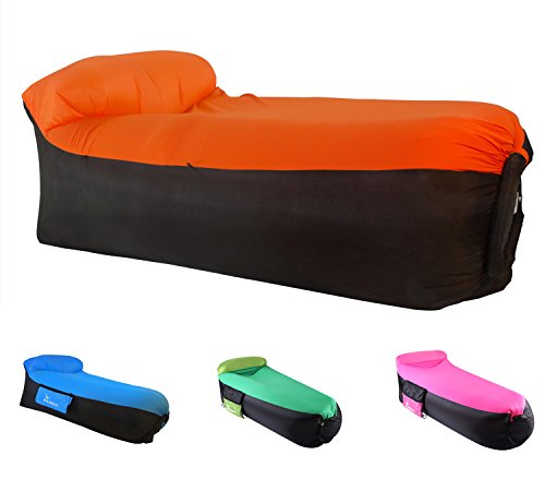 MAMBLE Inflatable Lounger Sofa Portable Sofa Bed Air Sofa for Travelling, Camping, Beach, Park Orange