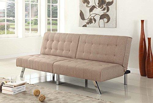 Light Brown Cavas Linen With Split Back Adjustable Klik Klak Sofa Futon Bed Sleeper Convertible Quality 275lightbrown_05 77″ Wide