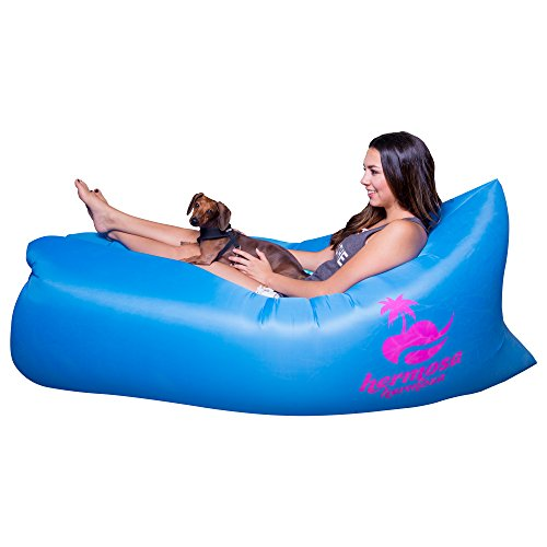 Inflatable Lounger & Pool Float By Hermosa Hermosa– Indoors & Outdoors Air Mattress Sofa– Blow Up Couch For Camping, Travelling, Hiking & The Beach– Easy To Inflate– Durable & Comfortable (Blue)
