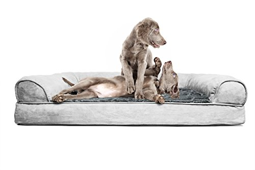 FurHaven Jumbo Plush & Suede Orthopedic Sofa Pet Bed for Dogs and Cats, Gray
