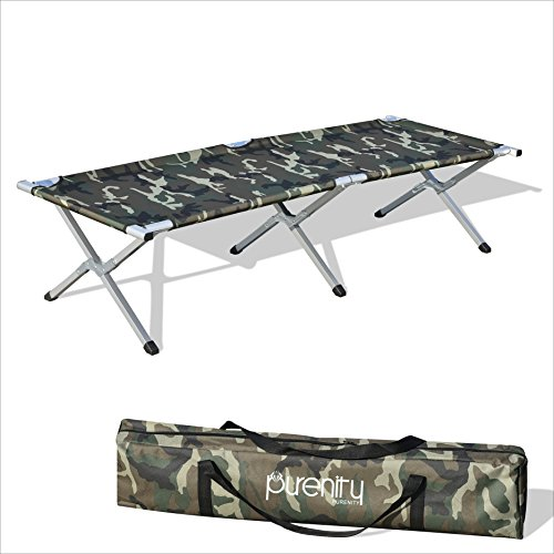 Purenity Folding Military Bed Portable Sport Camping COT With Free Storage Bag (Camo)