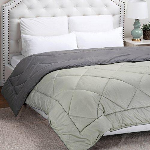 King Reversible Comforter Duvet Insert with Corner Ties–Quilted Down Alternative Comforter Smoky grey/Light grey 102″x90″ by Bedsure