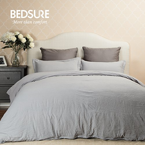 Duvet Cover Set with Zipper Closure-Solid Vintage Grey,Full/Queen (90″x90″)-3 Piece (1 Duvet Cover + 2 Pillow Shams) Ultra Soft Hypoallergenic Microfiber by Bedsure