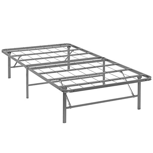 Modway Horizon Twin Bed Frame In Silver – Replaces Box Spring – Folding Portable Metal Mattress Bed Frame With Storage – Low Profile – Heavy Duty