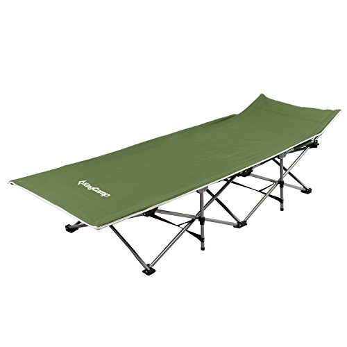 KingCamp Strong Stable Folding Camping Bed Cot with Storage Bag (Green)