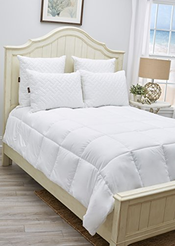 White Comforter Duvet Insert by Panama Jack – Extra Plush, Box Stitched Quilted, Hypoallergenic Comforter with Premium Microfiber and Down Alternative Poly Fill (Queen/Full)
