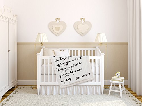 Luxuriously Soft Scripture Throw Baby Blanket | Jeremiah 29:11 | 30×40 inches (Ivory)