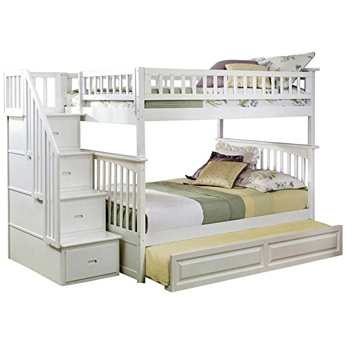 Columbia Staircase Bunk Bed with Trundle Bed, Full Over Full, White