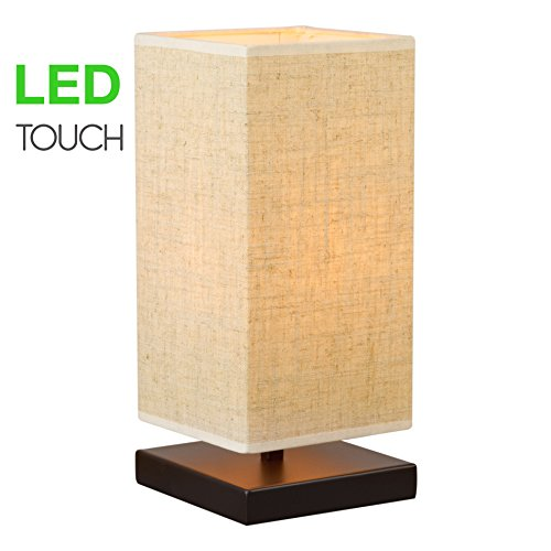 Revel Lucerna 13″ TOUCH Bedside Table Lamp + 4W LED Bulb (40W eq.) Energy Efficient, Eco-Friendly, Honey Beige Shade