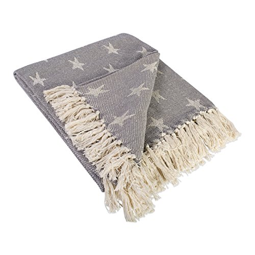 DII 100% Cotton Handloom Stars Throw with Twisted Fringe, Great Blanket For Couch, Picnics, Camping, BBQ's, Beaches, & Everyday Use – 50×60″ , Star Gray