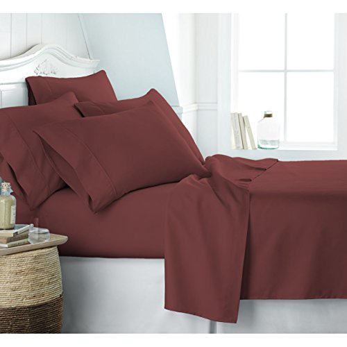 Egyptian Luxury 1800 Hotel Collection Bed Sheet Set – Deep Pockets, Wrinkle and Fade Resistant, Hypoallergenic Sheet and Pillow Case Set – (Queen,Burgundy)