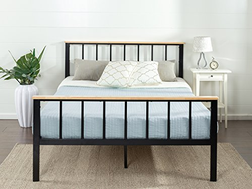 Zinus Contemporary Metal and Wood Platform Bed with Wood Slat Support, Full
