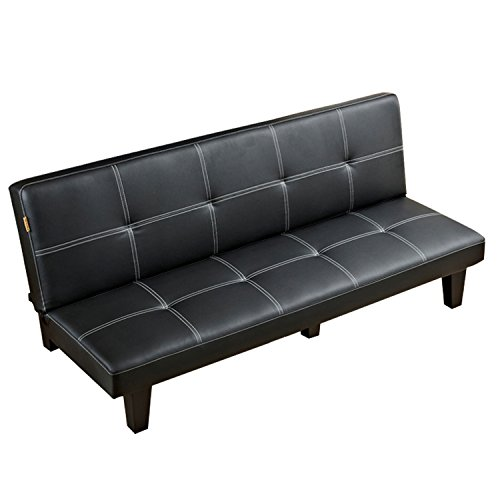 Sofa Bed, Modern Convertible Futon Sofa Bed With Wood Legs Quickly Converts into a Bed by CloudWave (Black)