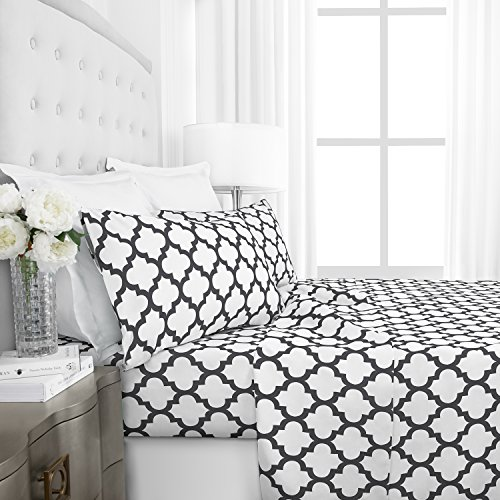 Egyptian Luxury 1800 Hotel Collection Quatrefoil Pattern Bed Sheet Set – Deep Pockets, Wrinkle and Fade Resistant, Hypoallergenic Printed Sheet and Pillow Case Set – King – White
