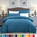 SUSYBAO 100% Cotton 3 Pieces Duvet Cover Set Queen Size 1 Duvet Cover 2 Pillow Shams Solid Teal Hotel Quality Ultra Soft Breathable Hypoallergenic Fade Stain Wrinkle Resistant with Zipper Ties