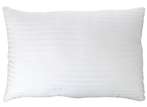 Gel Fiber Pillow – Down Alternative Pillows with Cotton Cover – Ultra Plush with Hypoallergenic .9 Micro Denier Fill (Queen Size, Soft) Crafted in The USA (Dobby Stripe Cotton Cover)