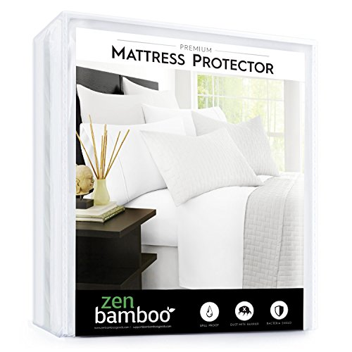 Zen Bamboo Mattress Protector – Best Lab Tested Premium Waterproof, Hypoallergenic, Cool and Breathable Mattress Protector and Cover – Queen