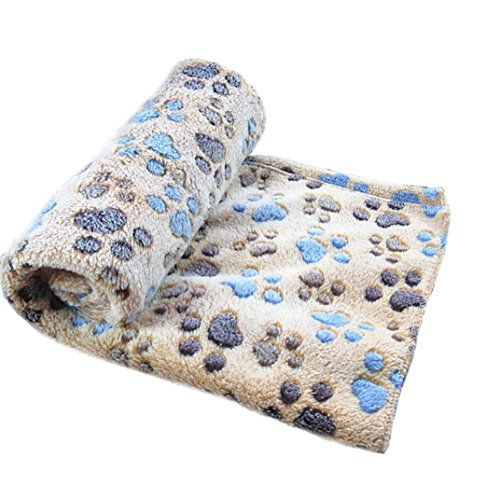MALLOOM Warm Pet Mat Puppy Cat Paw Print Fleece Soft Blanket for Small Large Dog (S, Coffee)
