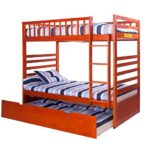 Merax Bunk Bed Twin Over Twin with Trundle Bed and End Ladder in Oak