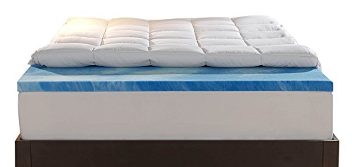 Sleep Innovations 4-Inch Dual Layer Mattress Topper – Gel Memory Foam and Plush Fiber. 10-year limited warranty. Twin Size