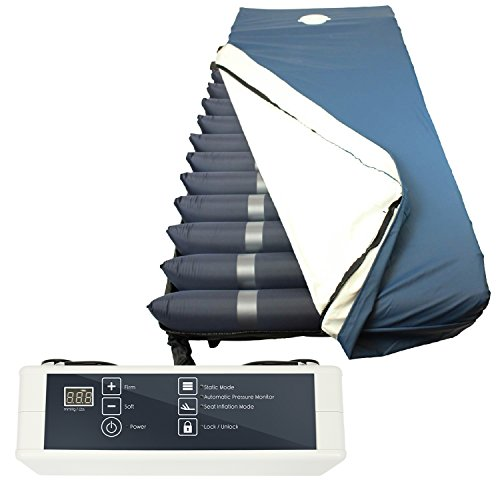 Alternating Pressure Mattress (8″) by Vive – Medical Mattress Replacement for Pressure Ulcers & Bed Sores – Inflatable Variable Pressure Hospital Bed w/ Low Loss Pump System