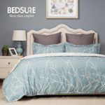 Duvet Cover Set with Zipper Closure-Green/White Printed Branch Pattern Reversible,Twin(68″x90″)-2 Piece (1 Duvet Cover + 1 Pillow Shams)-110 gsm Ultra Soft Hypoallergenic Microfiber by Bedsure