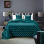 Chanasya Super Soft Warm Elegant Cozy Fuzzy Fur Fluffy Faux Fur with Sherpa Wavey Pattern Plush Evergreen Teal Bed Blanket Queen / Full – Solid Wave Pattern Evergreen Teal