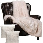 Chanasya Super Soft Fuzzy Fur Faux Fur Cozy Warm Fluffy Beautiful Color Variation Print Plush Sherpa Ivory Fur Throw Blanket (50″ x 65″) & 2 pillow Covers ( 18″x18″) Set