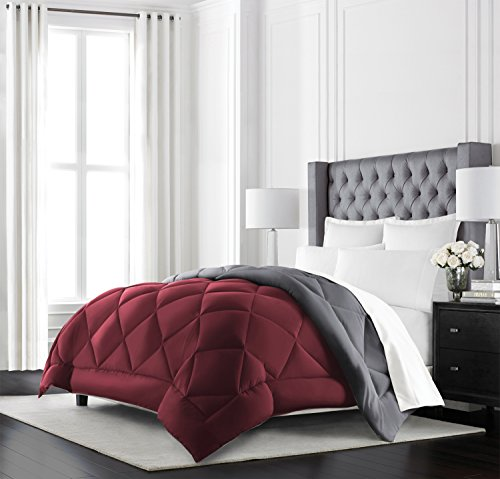 Beckham Hotel Collection Goose Down Alternative Reversible Comforter – All Season – Premium Quality Luxury Hypoallergenic Comforter – Twin/Twin XL – Burgundy/Grey