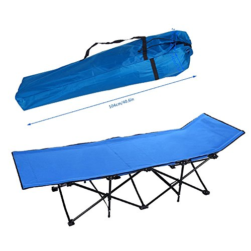 F&D Portable Folding Camping Beach Bed Military Army Sleeping Cot Tent Hiking Travel Bed w/ Storage Bag (Blue)