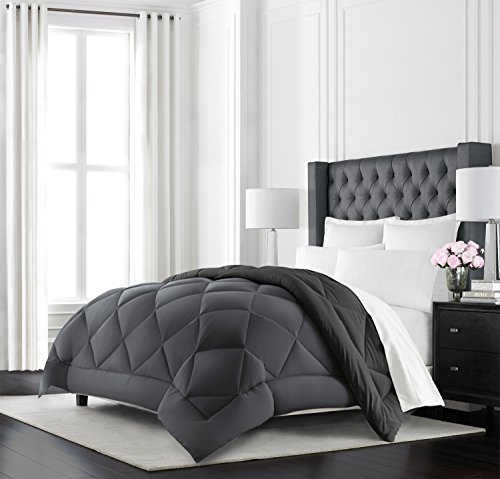 Beckham Hotel Collection Goose Down Alternative Reversible Comforter – All Season – Premium Quality Luxury Hypoallergenic Comforter – King/Cal King – Grey/Black