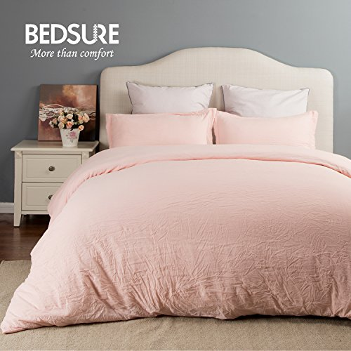 Duvet Cover Set with Zipper Closure-Solid Vintage Pink,Twin (68″x90″)-2 Piece (1 Duvet Cover + 1 Pillow Sham) Ultra Soft Hypoallergenic Microfiber by Bedsure