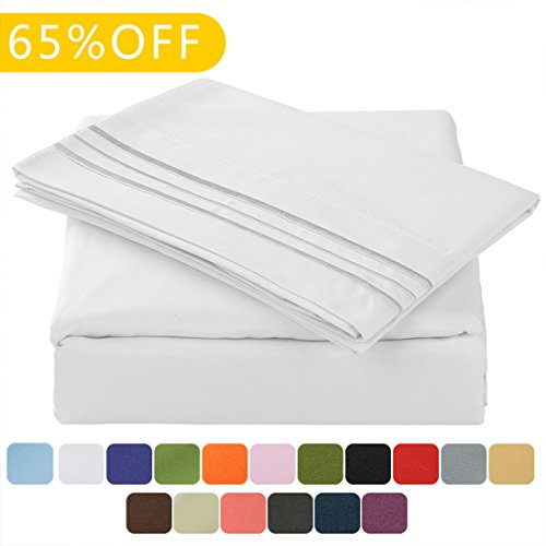 TasteLife 105 GSM Deep Pocket Bed Sheet Set Brushed Hypoallergenic Microfiber 1800 Bedding Sheets Wrinkle, Fade, Stain Resistant – 4 Piece(White,Queen)