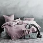 Washed Cotton Chambray Duvet Cover Solid Color Casual Modern Style Bedding Set Relaxed Soft Feel Natural Wrinkled Look (King, Mauve Lilac)