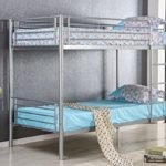 Merax Kids Metal Twin Over Twin Bunk Bed With Ladder In Silver Finish