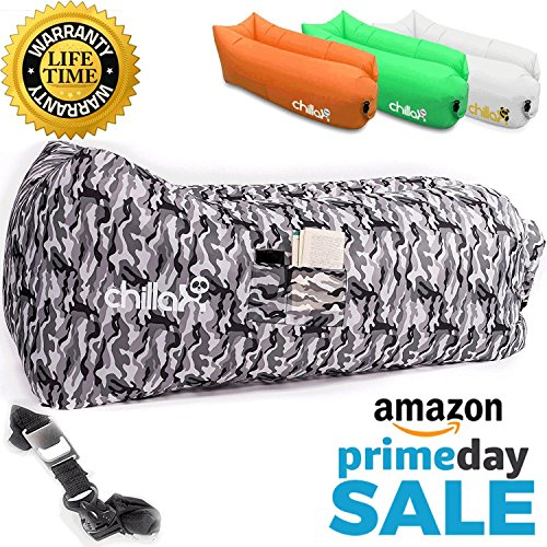 ChillaX Air Lounger with Carry Bag, Securing Stake and Bottle Opener (WinterCamo)