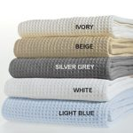 TreeWool, 100% Soft Premium Cotton Thermal Blanket Light Weight Easy Care Soft Comfortable and Warm (King Size – 90″ x 108″, Waffle Weave, Light Blue)