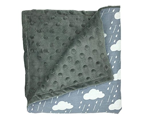 LAGHCAT Printed Mink Blanket with Dotted Backing Cartoon Bed Blanket for Baby, Lap Blanket for Kids.(32×30 inch,Grey Cloud)