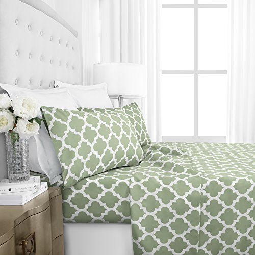 Egyptian Luxury 1800 Hotel Collection Quatrefoil Pattern Bed Sheet Set – Deep Pockets, Wrinkle and Fade Resistant, Hypoallergenic Printed Sheet and Pillow Case Set – Queen – Sage