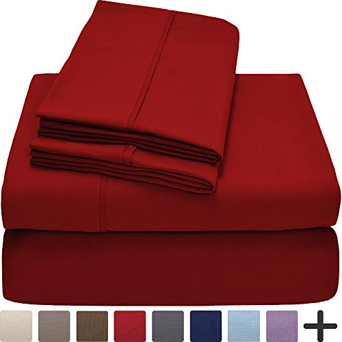 Premium 1800 Ultra-Soft Microfiber Collection Queen Sheet Set, Hypoallergenic, Easy Care, Wrinkle Resistant, Deep Pocket (Queen, Red)