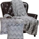 Chanasya Super Soft Warm Elegant Cozy Fuzzy Fur Fluffy Faux Fur with Sherpa Wavey Pattern Plush Gray Throw Blanket (65″ x 50″) & two Pillow Cover ( 18″X18″) Set